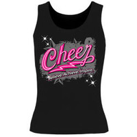 Get The Cheer Believe Acheive Inspire Printed Black Fitted Tank Top