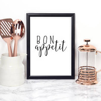 BON APPETIT SIGN,Kitchen Decor,Kitchen Wall Art,Modern Home Decor,Modern Art,Quote Posters,Printable Wall Art,Kitchen Sign,Inspirational