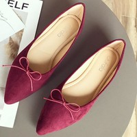New light mouth a foot to pedal single shoe female Korean version bowknot flat bottom shoe pointy head 100 take women's shoes lazy person shoe
