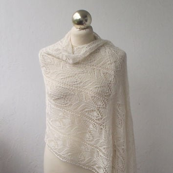 Very Light Cream lace shawl, hand knitted lace stole,off white wedding  shawl