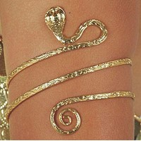 Upper Arm Metal Bracelet Snake Armband Armlet Anklet Bangle Gold Tone