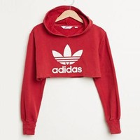 Adidas Casual Long Sleeve Hooded Crop Top Sweater Pullover Hoodie