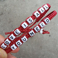 love is all you need bracelet set, Lovers bracelet, Couples Bracelets,Christmas gift, Bridesmaid Jewelry, Friendship Graduation Gifts