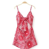 Casual Spaghetti Strap Bowknot Cutout Exposed Navel Printed Romper