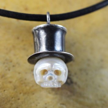 Hand Carved Pearl Skull Wearing Sterling Silver Top Hat Necklace