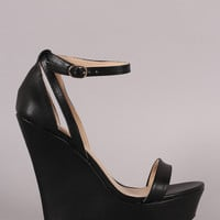 Wild Diva Lounge Open Toe Ankle Strap Platform Wedge