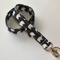 Lanyard  ID Badge Holder - Black and white Elephants  - Lobster clasp and key ring