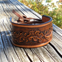 Handcrafted Leather Cuff Bracelet - Tooled Leather - Leaves - Handmade Country Jewelry - Gifts for Men - Size 6 inch