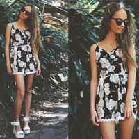 Hot Sale White Lace Patchwork Print Spaghetti Strap Romper [6315483905]