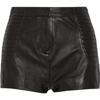 Pierre Balmain - High-rise leather shorts