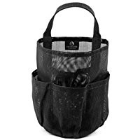 "Mesh Shower Caddy + Large Comb. All-black Unisex Portable Hanging Mesh Quick Dry Shower Caddy with Handle, And One 8.5"" Plastic Hair Comb with Two Side Tooth, by BlueSkyBos (All-black, 6"" X 6"" X 9"")"