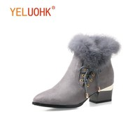 34-43 Ankle Boots For Women High Heel Women Winter Boots Plush Women Boots Winter Shoes Warm