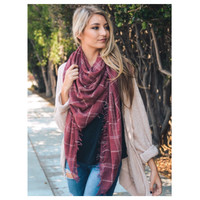 """""""Style and Flare"""" Frayed Edge Washed Red Plaid Oblong Scarf"""