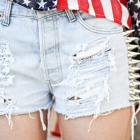 Frayed distressed spiked Shorts by JuliLand on Etsy