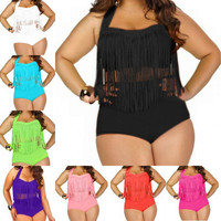 Plus Size Swimwear For  Fringe Tassels Bikini High Waist