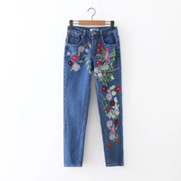 SDP65-8161 Europe fashion flower embroidery women's jeans 1126