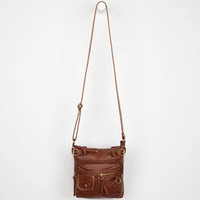 Washed Faux Leather Crossbody Bag Cognac One Size For Women 22856040901