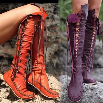 Women Medieval Retro Tall Tube Lace Up Leather Shoes British Style Men Carnival Elf Party Knight Performance Cosplay Boot