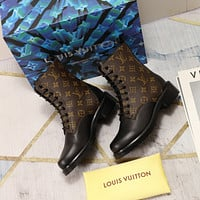 lv louis vuitton trending womens men leather side zip lace up ankle boots shoes high boots 139