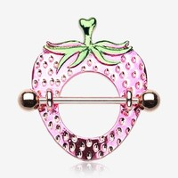 A Pair of Rose Gold Strawberry Nipple Shield Ring