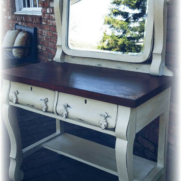 Antique vanity and mirror, antique desk, stenciled distressed vanity, rustic desk,  shabby chic vanity, shabby chic desk, distressed vanity