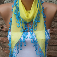 Yellow Scarf  -  Cowl with  Lace Edge