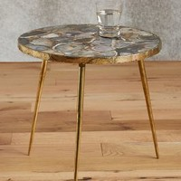Agate End Table by Anthropologie in Blue Motif Size: One Size Furniture