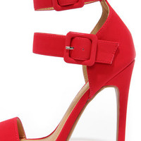 Pair Play Red Ankle Strap Heels