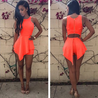 Orange Sleeveless Cut-Out Back Asymmetrical Romper