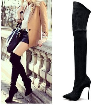 2016 Autumn Winter Women Boots Stretch Faux Suede Slim Thigh High Boots Fashion Sexy Over the Knee Boots High Heels Shoes Woman