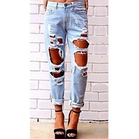 Destroyed Boyfriend Jean Blue Denim