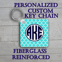 Personalized Lily Pulitzer Blue Lattice inspired Square Key Chain Monogram.  Monogrammed keychain, custom made to order. #1077