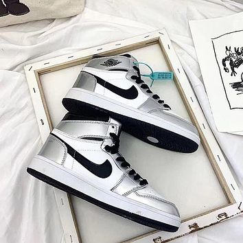 AJ1 Air Jordan 1 high-top silver toe sports basketball shoes