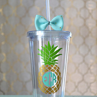 Monogrammed Pineapple Acrylic Tumbler. 16 ounce cups.