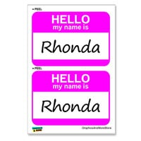 Rhonda Hello My Name Is - Sheet of 2 Stickers