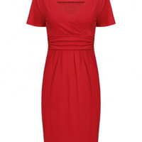 Closet Wrap Front Pleated Dress In Red