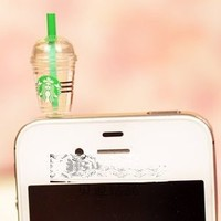 OOOUSE Hot New Starbucks Coffee Style 3.5mm Headphone Anti-dust Plug Cap for Iphone 4 4S Samsung Galaxy HTC LG - Transparent Color