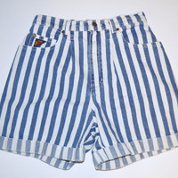 Vintage 1990's Jean Shorts Faded Glory Vertical Striped Denim Shorts Blue and White Stripes High Waist Women's Junior Size 7/8 Mom Shorts