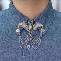 Silver Bat Collar Pin/ Tie Pin