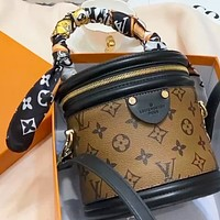LV cannes women's simple handbag cylinder bag shoulder diagonal bag