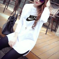 """Nike"" Women Casual All-match Simple Letter Print Long Sleeve T-shirt Irregular Middle Long Section Bottoming Tops"