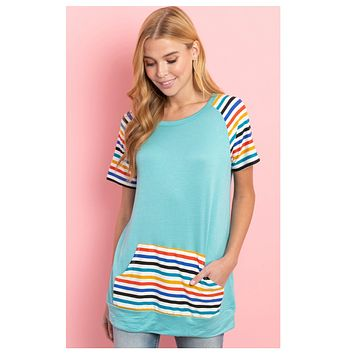 CLOSEOUT Sale! ~Adorable Striped Sleeve and Kangaroo Pocket Mint Top