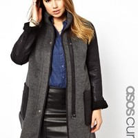 ASOS CURVE Exclusive Coat With PU Pockets