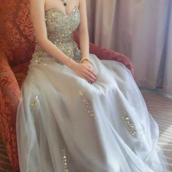 Beautiful Prom Dresses Sweetheart A line Beading Prom Dress Sexy Evening Dress Formal Gowns G6522