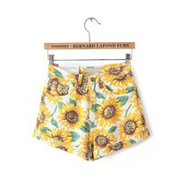 2018 summer casual shorts women above knee mini high wait sexy short pocket zipper fashion sunflower  print  short pant hot
