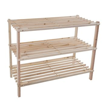 Lavish Home Wood Shoe Rack, Storage Bench – Closet, Bathroom, Kitchen, Entry Organizer, 3-Tier Space Saver Shoe Rack