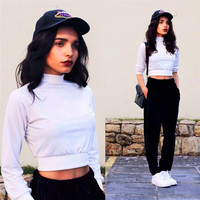 Fashion Solid White Long Sleeve Crop Top Slim Women Pullovers Tracksuit Women's Autumn 2016 Vintage Sailor Moon Sudaderas Mujer