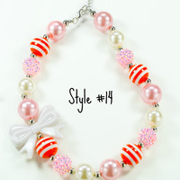 #14 Bubblegum Chunky Necklace White Bow with Orange & Pale Pink Beads