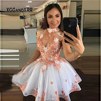 New Halter Short Quinceanera Dresses 2020 Flower With Beading Pearls Sweet 15 Dress Little Princess Birthday Gala Formal Gown
