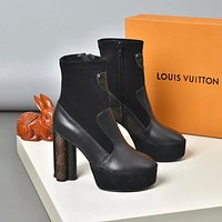 lv louis vuitton trending womens black leather side zip lace up ankle boots shoes high boots 191
